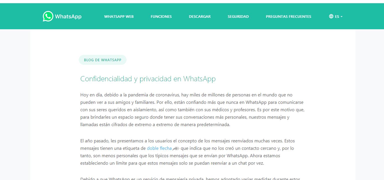 WhatsApp restringió el envío