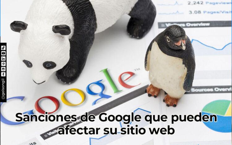 Sancione de Google que pueden afectar su sitio